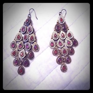 Red and gold chandelier earrings